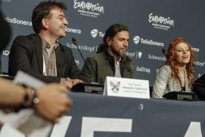 Valentina Monetta e il team di San Marino in conferenza stampa @Denis Stechel (EBU)