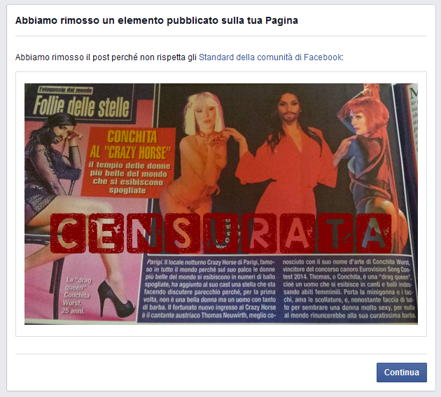 Facebook censura Conchita Wurst