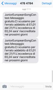 Rimborso SMS televoto JESC 2015