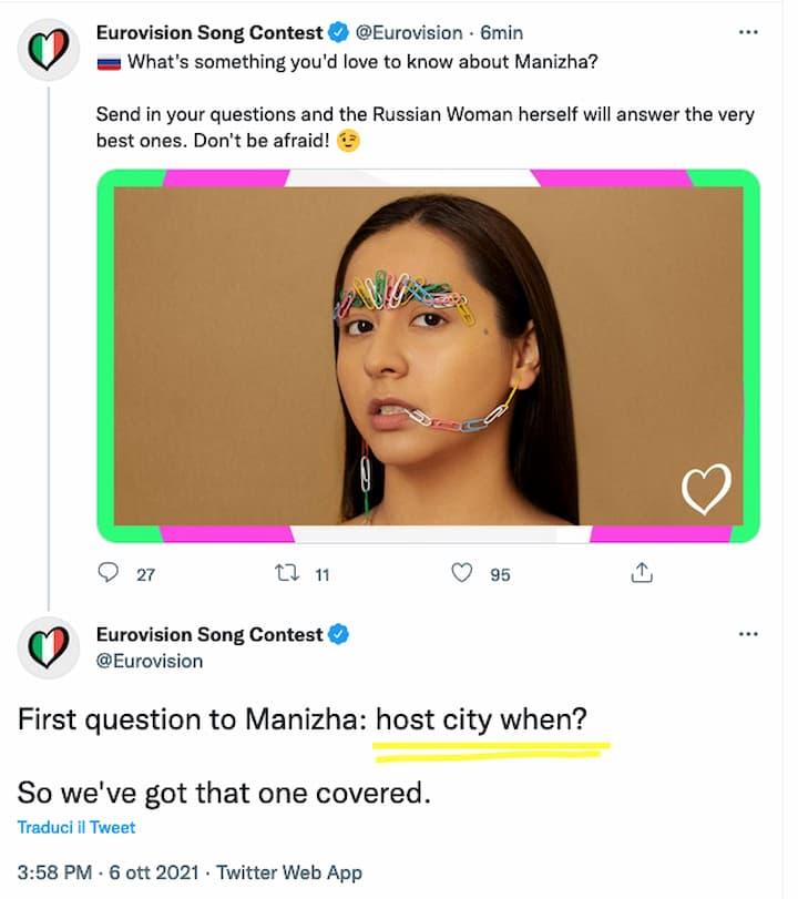 Tweet Eurovision Manizha città ospitante